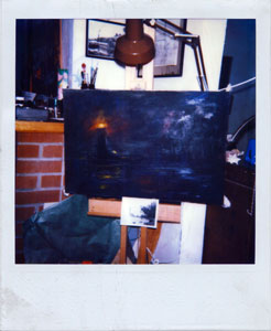 L.V. Hogue working on a painting, in his home.