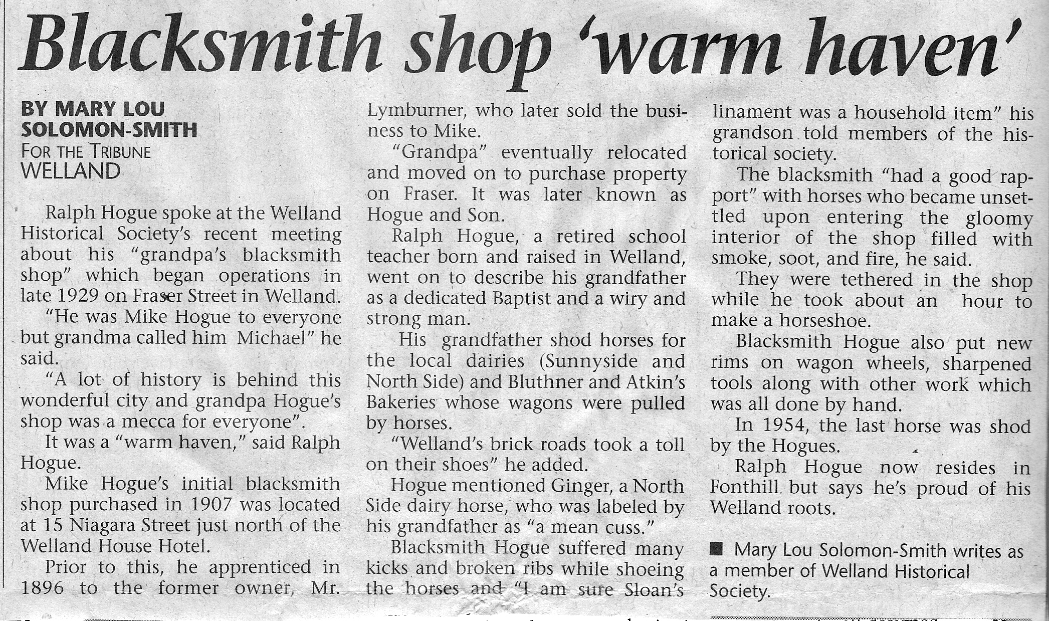 Scan of the text of the Welland Tribune newspaper   article.
