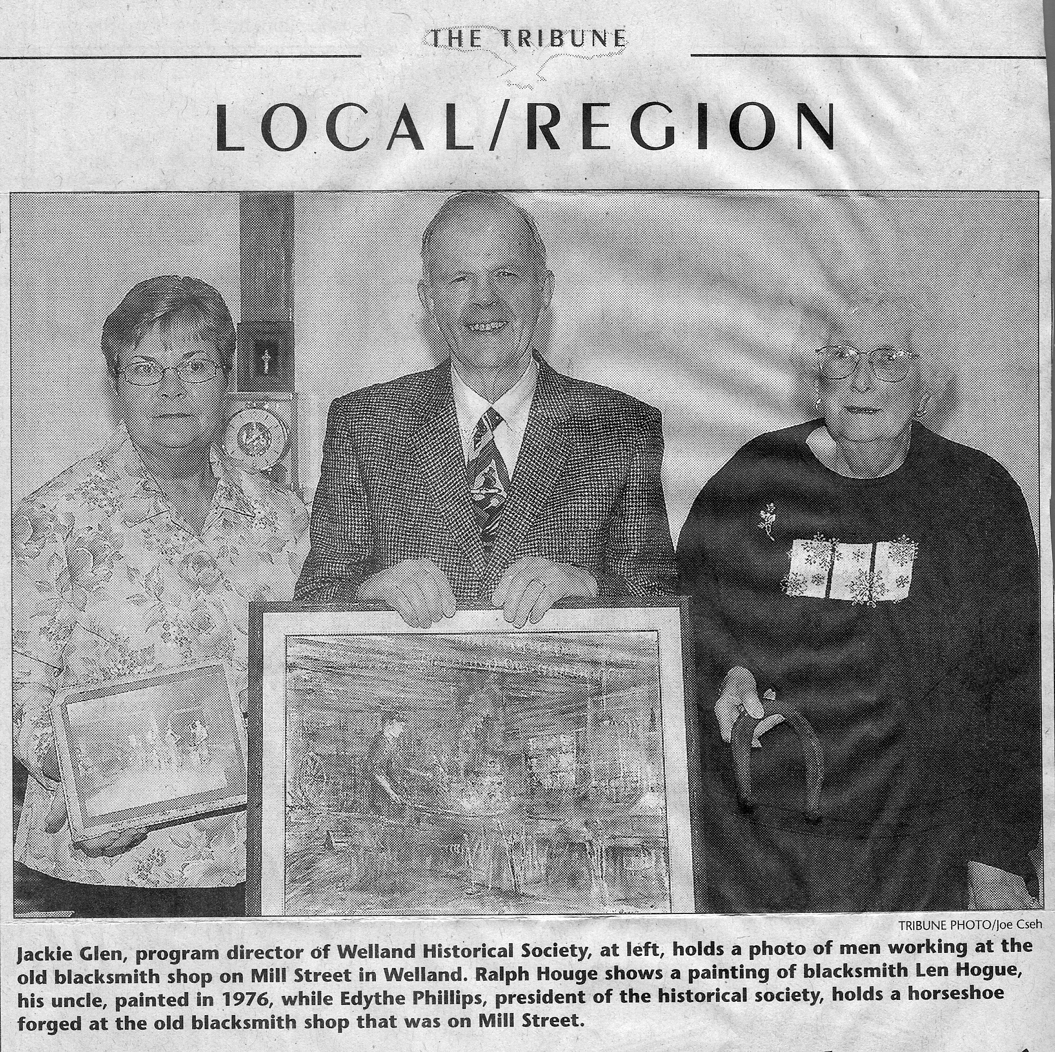 Scan of the photo from the Welland Tribune newspaper   article.